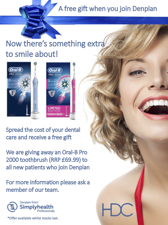 A free Oral-B Pro 200 toothbrush for all new patients who join Denplan.